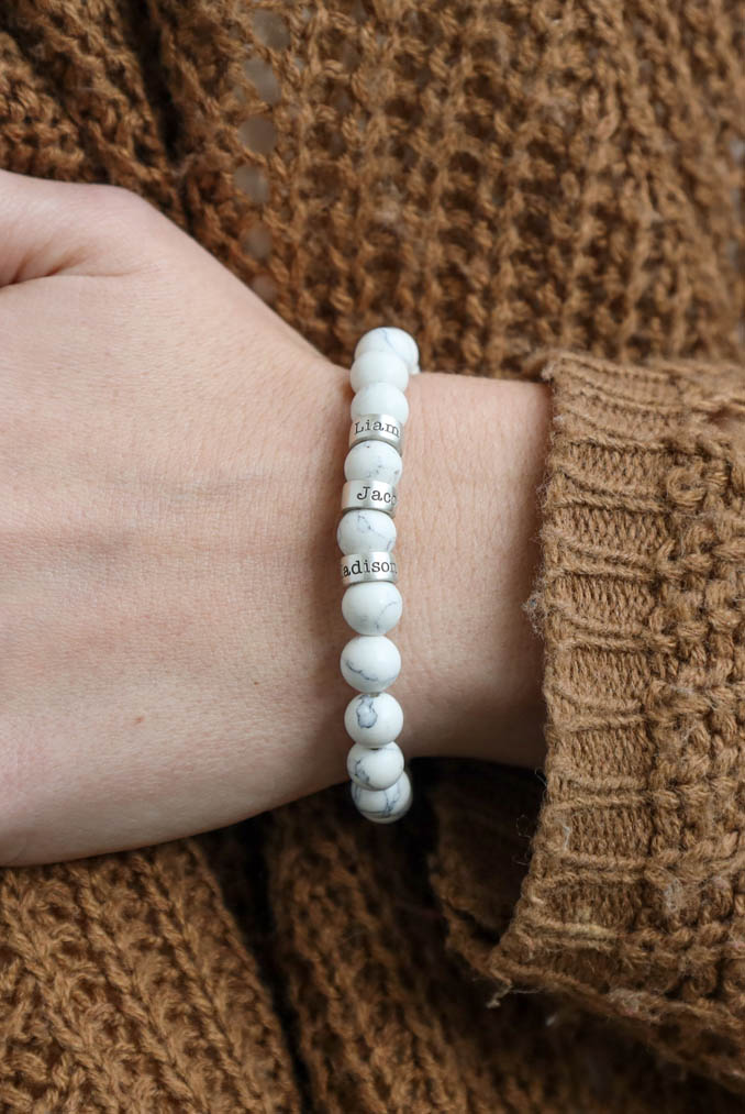 Howlite Women Name Bracelet [Sterling Silver]