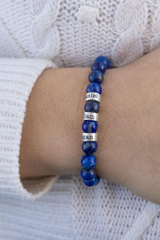 Bracelet Lapis Lazuli avec Prénoms pour Femme
