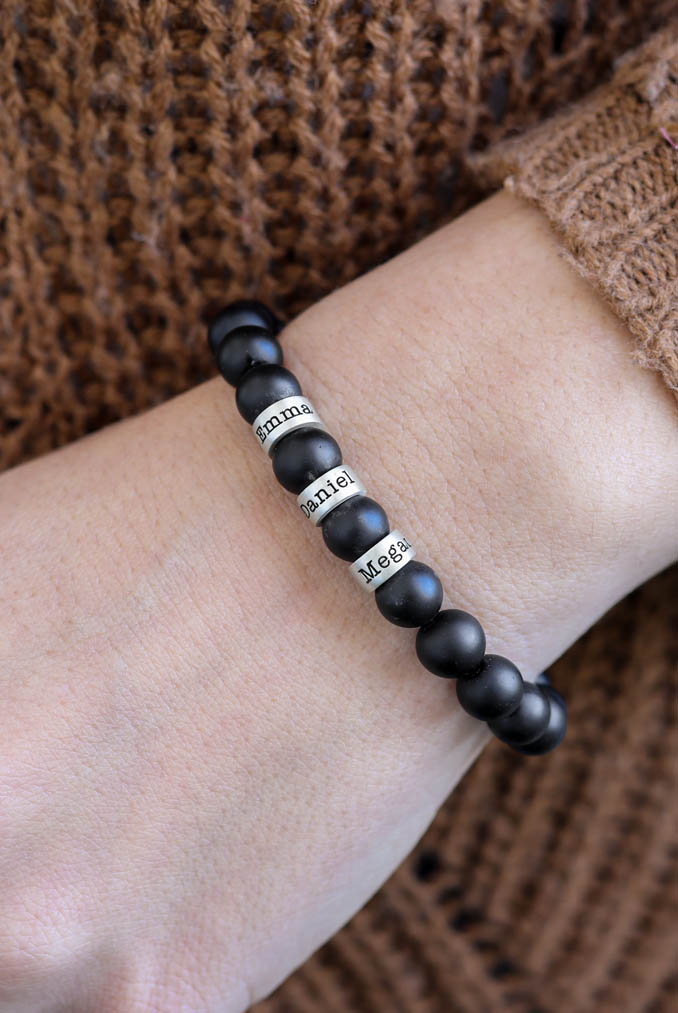 Black Onyx Name Bracelet for Women [Sterling Silver]
