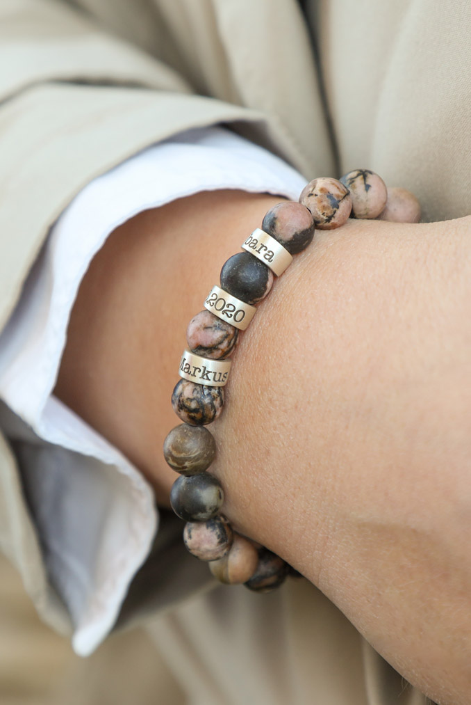 Pink Jasper Women Name Bracelet [Sterling Silver]