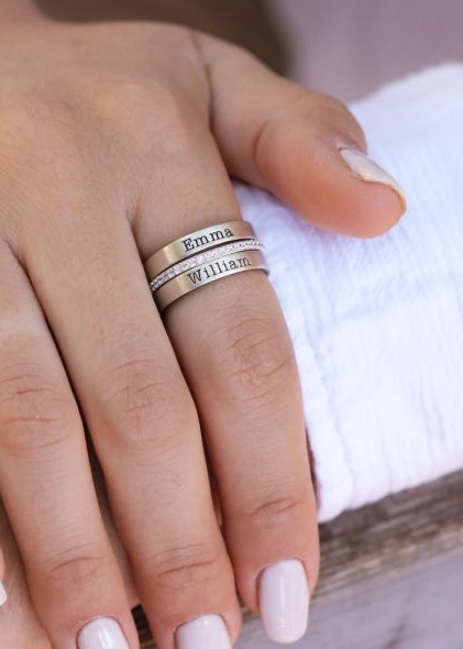 Shining Family Name Ring Stack [Sterling Silver]