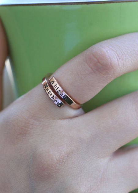 Swan Name Ring - 2 Names [Rose Gold Plated]