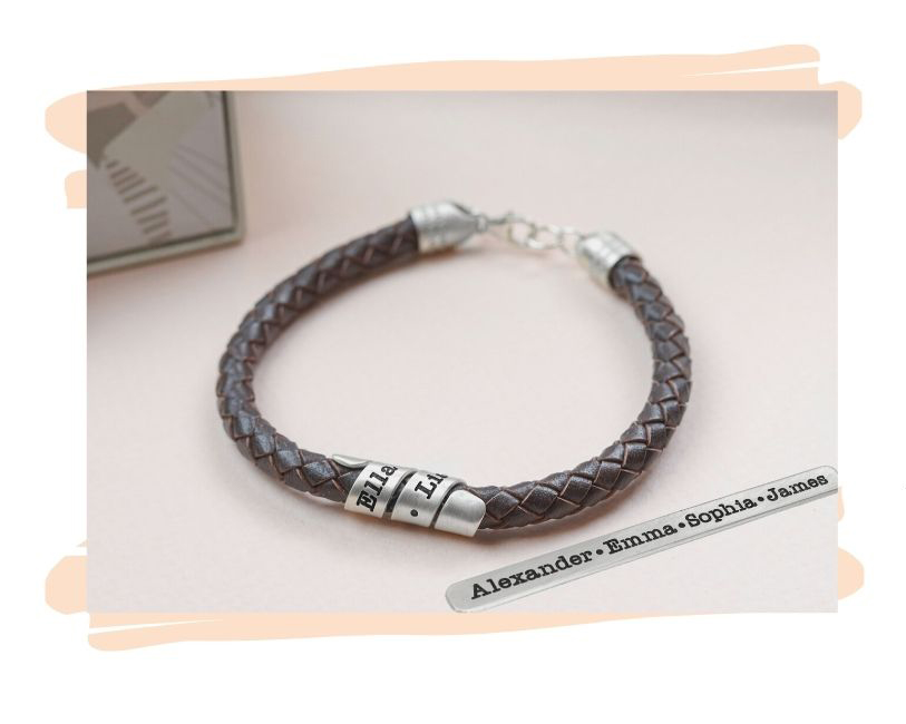 Custom Leather Bracelet With an Engraved Silver Wrap