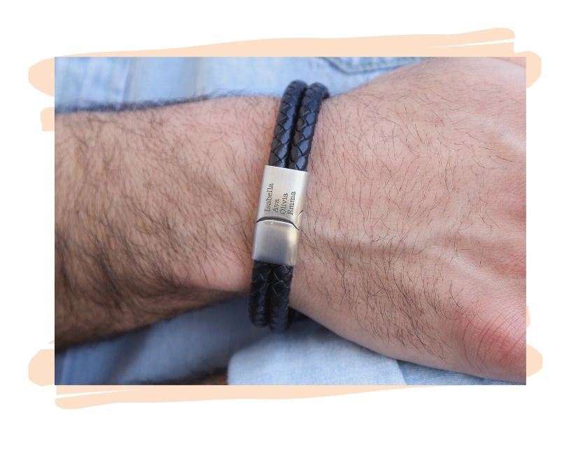 Custom Leather Bracelet With a Magnetic Clasp