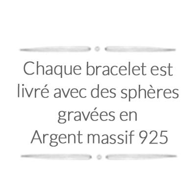 Chaque bracelet est livré avec des sphères gravées en argent sterling 925 véritable