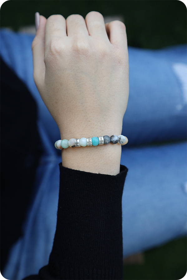 Amazonite Women Name Bracelet [Sterling Silver]