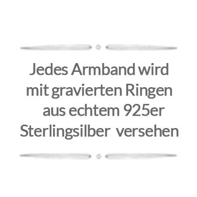 Jedes Armband wird mit gravierten Ringen aus echtem 925er Sterlingsilber versehen